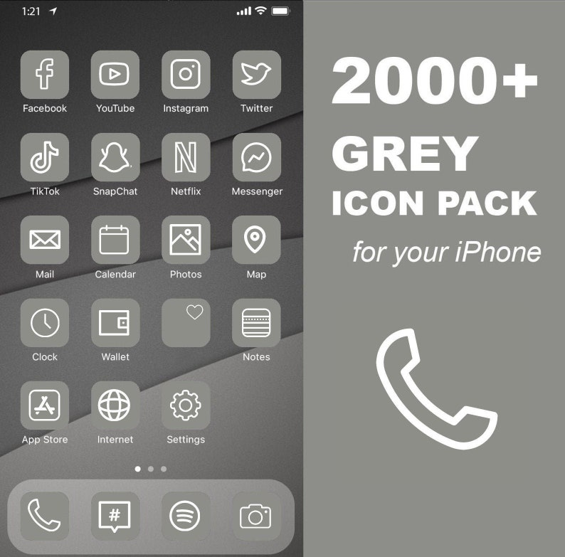 2000 iOS Grey Icon Pack  All Access Pack  iPhone IOS14 App image 0