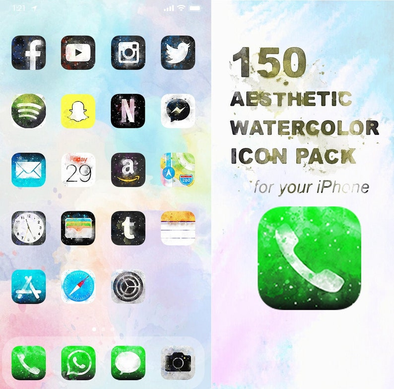 2000 iOS Watercolour Icon Pack  All Access Pack  iPhone image 0