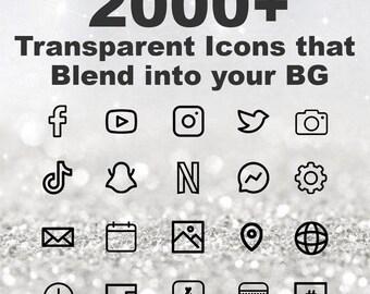 2000+ iOS Transparent Black Icon Pack   All Access Pack   iPhone IOS14 App   Aesthetic Home Screen   iOS 14 Widget Photos   Widgetsmith