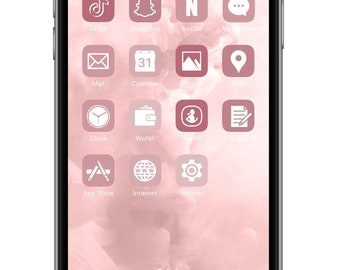 iOS Icon Lifetime All Access Pack   Rose Gold iPhone IOS14 App Icons Pack   Aesthetic Personalized Home Screen   30 Icons + Bonus