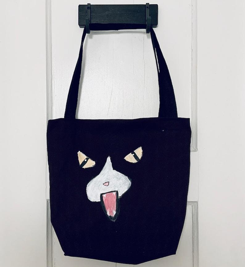 Angry Cat Face Black Shoulder Bag with Black Straps