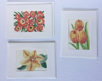 Framable Butterfly Bush Botanical Floral decor Poppies /& Sweet Peas Hand-painted cards 3 Watercolor Originals Pastel Floral realism