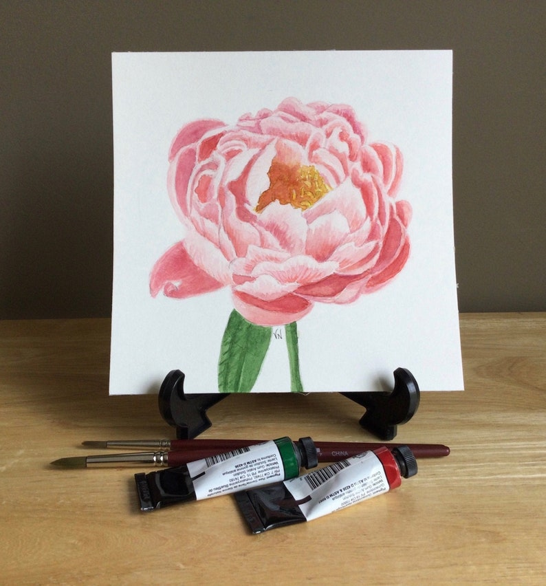 Peony painting Original watercolor 7x7 inches Pink image 1