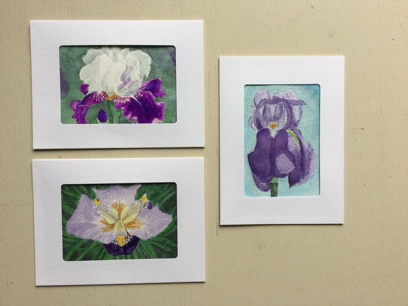 3 Iris Cards Watercolor originals Frame Notecards image 0