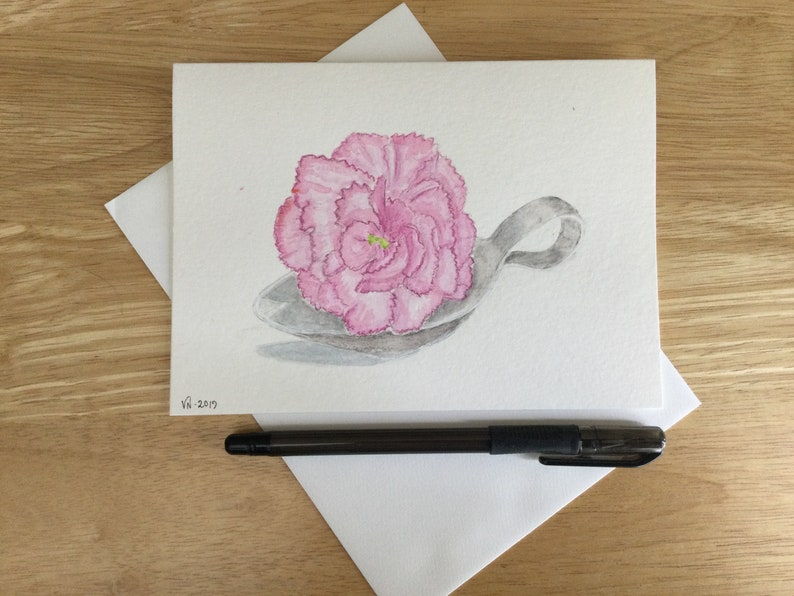1 Pink Carnation Note Card Original Watercolor 5x7 Inches image 0