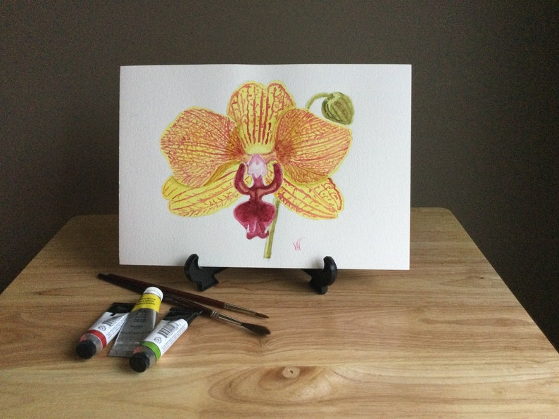 Yellow & Red Orchid painting Watercolor original 7.5 x 11 image 0
