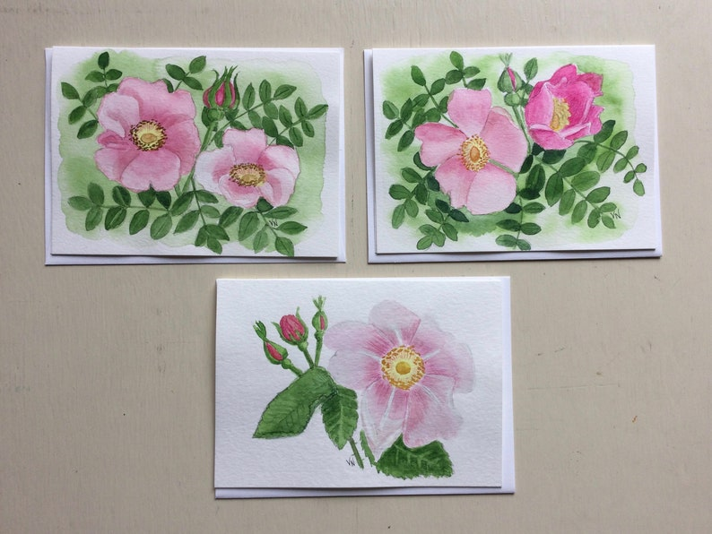 3 Wild Rose Note Cards Watercolor Originals 5x7 Inches image 0
