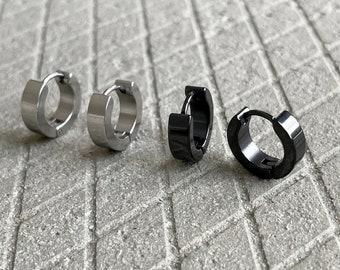 mens hoop earrings black
