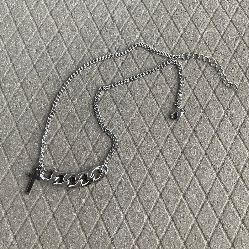 Punk Cross Chain Necklace-Cross Choker-Cross Necklace-Chain Link Necklace-Punk Cross Choker-Aesthetic Jewelry-BTS Necklace-Minimalist Chain