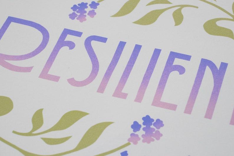 Retro Art Mid Century Modern Art Flower Art Print Floral Art Print Resilient Art Print Unframed Lettering Art Print