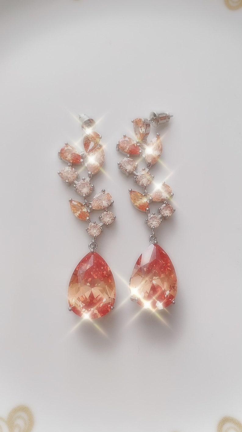 Luxury Cubic Zirconia Long Champagne Earrings