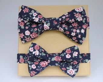 Fly, Men's Fly, Bow Tie, Bowtie, Children's Fly, Handkerchief, Roses, Dark Blue
