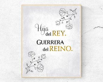 Hija del Rey, Guerrera del Reino (8 x 10 gris),  Impresión Digital, Cita Cristiana, Arte de Pared, Imagen Cristiano, Wall Art in Spanish
