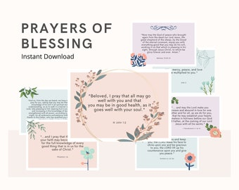 Prayers of Blessing Cards   Instant Download  