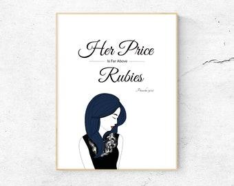 Price Above Rubies - Proverbs 31:10 (Asian), Bible Verse Print for Women, Bible Verse Wall Art, Christian Home Decor, Printable Scripture