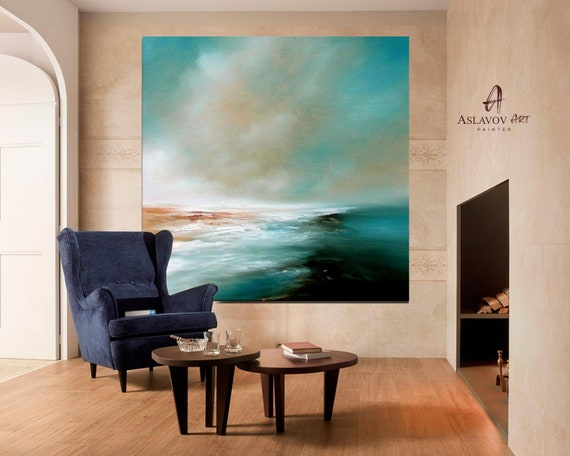 Sea Oil Painting, Blue Ocean Abstract Painting,Sea Wave Original Abstract Canvas Oil Painting,Sky Abstract Landscape Painting, Wall Art