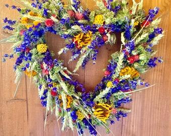 Sunflower and Wheat Heart Wreath