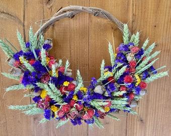 Wheat grapevine wreath, all season wreath, real dried flower wreath, 4 sizes