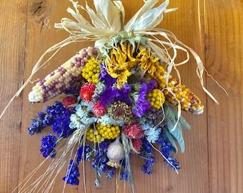 Fall Organic Door Decoration, Corn, Wheat and Sunflower Spray, Harvest Celebration