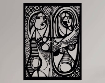 """Pablo Picasso Metal Wall Art- Girl Before A Mirror, Picasso Art, Picasso Halloween Art; Cubic Artifact Wall Decor, Picasso Artwork-29""""x24"""""""