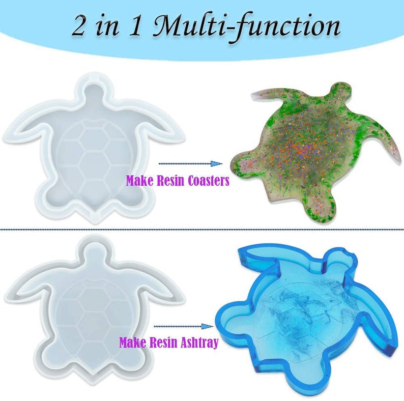 Tea Mat,Jewelry Storage Box Soap Dish,Geode Coasters Casting Resin Art Handmade Ashtray Molds for Epoxy Large Turtle Tray Mold Resin