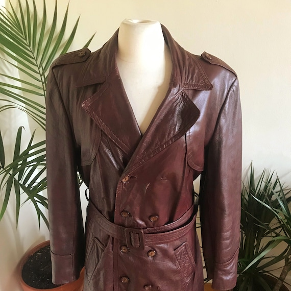 Vintage 70s Brown Leather Trench Coat with Belt