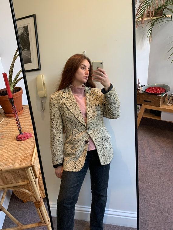 90's vintage silk beige blazer