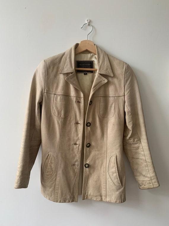 90's vintage beige leather jacket