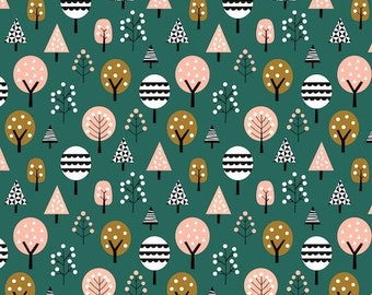 Green Forest Trees Fabric, Plants Fabric, Woven Cotton Fabric By The Metre, Face Masks Material