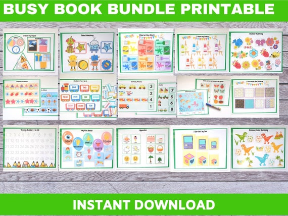 Busy Book Bundle Printable Interactive Learning Binder for