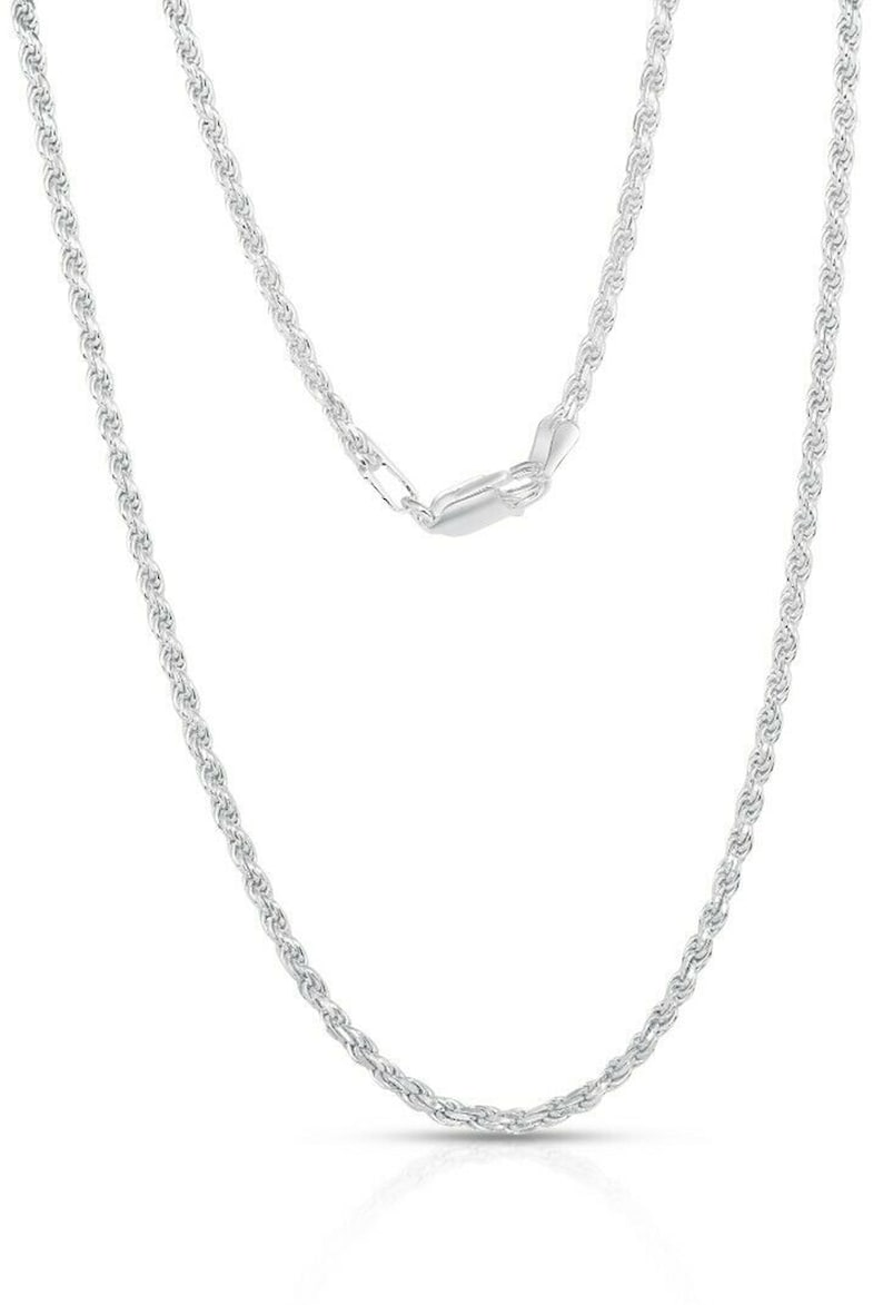 Made In Italy Sterling Silver 2MM Diamond Cut Rope Chain Necklace Unisex Sizes 16-24