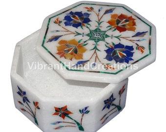 4x4x2 White Marble Jewelry Box Malachite Inlay Floral Design Handmade Veterans Gift Decor