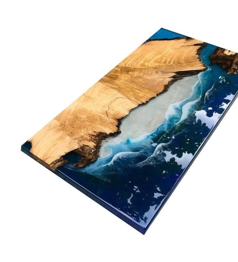 Teak Wood Epoxy River Center Tables