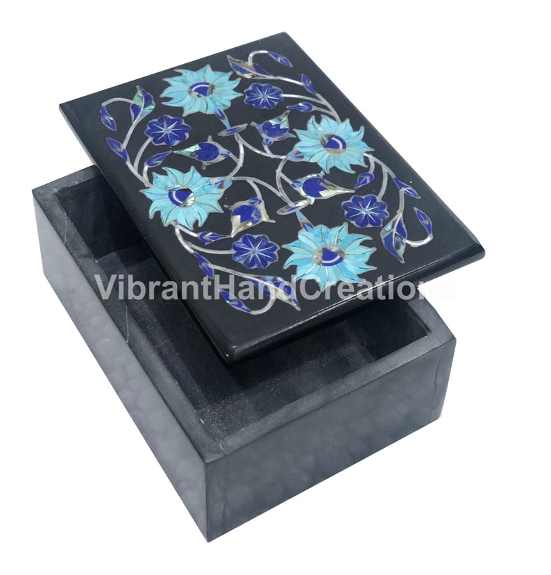 4x3x2 Black Marble Jewelry Box Turquoise Lapis Stone Floral Marquetry Inlay Beautiful Birthday Gift