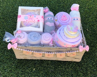 NEW! Personalized BabyGift Basket,Baby Girl Gift Basket,Baby Shower Gift,New Born Gift,Welcome Baby,Cupcake Onesies,Washcloth Lollipop
