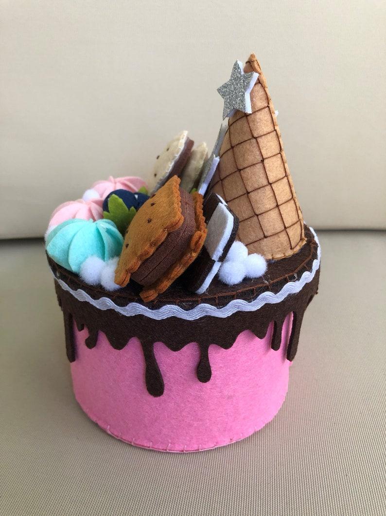 Birthday Gift Handmade Felt Cake Container Special Decorative Cake Handmade Storage box Fake Food Forever Cake