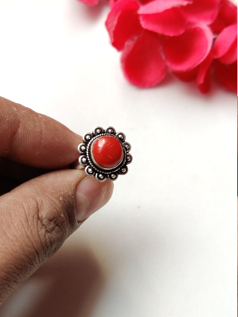 Oxidized German Silver Ring Coral Nepali Jewelry Gemstone Ring Red Coral Ring Genuine Coral Beautiful Ring Gemstone adjustable Ring