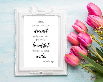 THE DEEPEST CUT - Printable Digital Download Wall Art for Authors - Inspirational Writing Quote