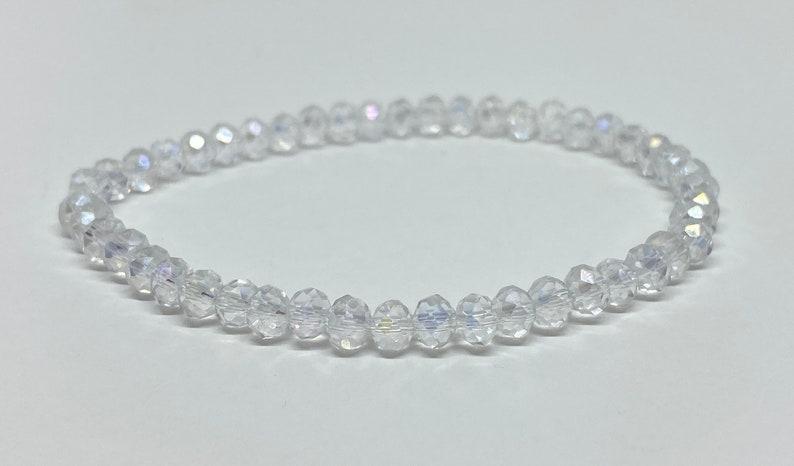 Accent Bracelet Beaded Bracelet Crystal AB Sparkly Bracelet Clear Beads Crystal Bracelet