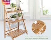3 Tier Outdoor Wooden Flower Plant Pot Shelf Stand Folding Display Ladder Garden New