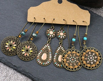 earrings for women boho earrings gipsy style!! boho jewelry green earrings Beaded hoop earrings