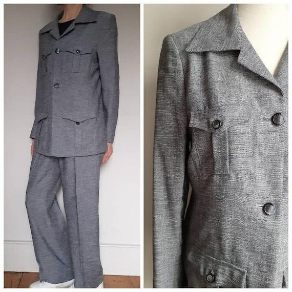 Vintage 1970s blue grey leisure suit lounge set Si