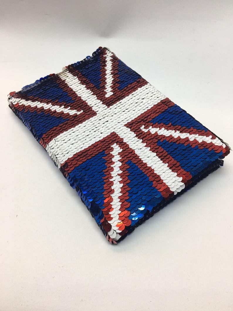 London Souvenir   premium quality  A6 notebook notepad  reversible sequins  handmade