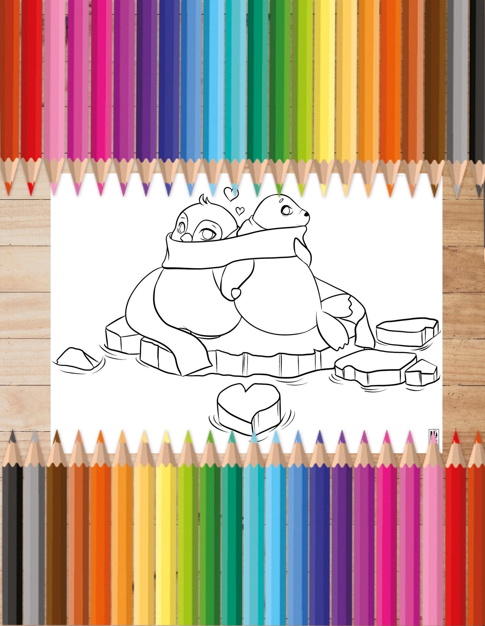 kawaii ausmalbild download robbe pinguin liebe manga anime