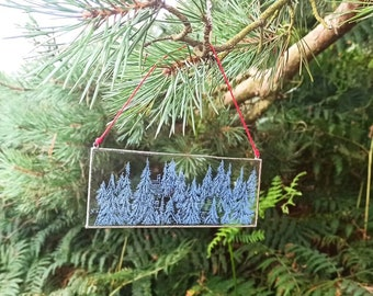 Blue Forest Glass Engraving Art