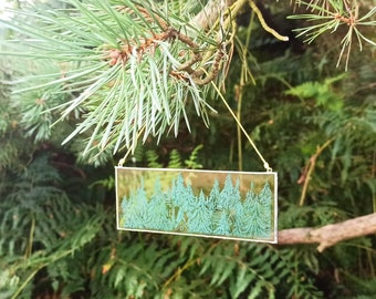 Green Forest Glass Engraving Art