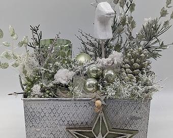 Christmas Arrangement Advent Decoration Advent Arrangement Winter Arrangement Tealight Deer Head Star White