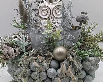 Winter Arrangement Winter Decoration Christmas Arrangement Flower Arrangement Owl Tealights Fir Trees