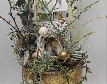 Tableware summer set summer decoration sailboat succulents eucalyptus gold maritim