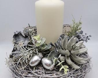 Christmas set Advent set winter set candle succulent acorns eucalyptus white